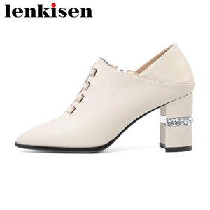 Lenkisen 2020 nuevas mujeres de los zapatos de cuero genuino en punta de diamantes de imitación zapatos de tacón alto bombas francesa romántica partido postal señora madura L15