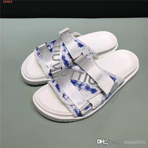 printemps plateforme hommes / été sandales en cuir à glissière mode pantoufles lettre ruban croix tissé avec l'emballage haut de gamme