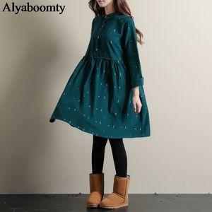 Mori Girl Autumn Winter Women Lolita Dress Blue Green Cartoon Print Casual Vestidospoppy Cute Kawaii Elegant Corduroy Dresses T200416