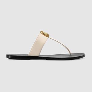 Mens e das mulheres da moda Preto 10mm Marmont Sandálias de Couro Thong adultos unisex praia causal chinelos tamanho euro 35-45