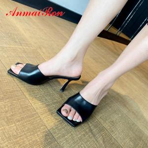 ANMAIRON en cuir véritable solide d'été Femmes Chaussons 2020 bout carré chaussures femmes extérieur Talons minces Mules Chaussures Femmes