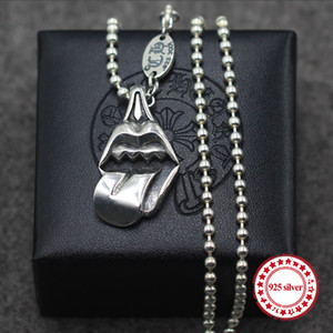 s925 sterling silver pendants personalized classic retro jewelry hip-hop style big tongue punk style to send a gift of lover