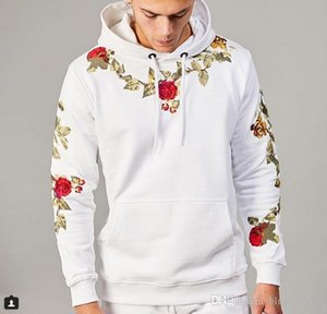 Mens Hoodie Fashion Style Male Floral Embroidery Hoodies Long Sleeve Sweatshirt for Men and Women M - 3XL