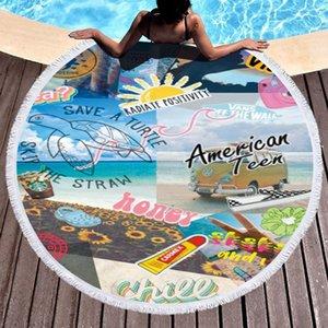 Письмо 3D печататься пляжные полотенца летом мода пляж одеяла кисточки висят гобелены йоги для пикника ковров женщин Шали коврики 150см FFA3788-6