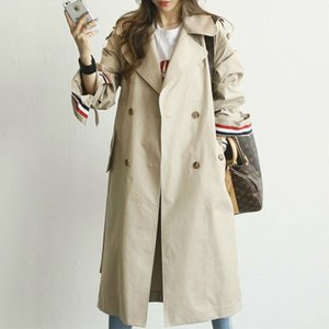 Spring Autumn New Fashion Woman Classic Double Breasted Trench Coat Business Outerwear Female Loose Clothing Dropshipping