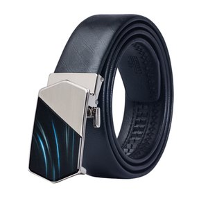 wholesale 100% Cowskin Genuine Leather Automatic Buckle Belt for Mens Fashion Blue Glass Buckle Mens Belts for Wedding Business