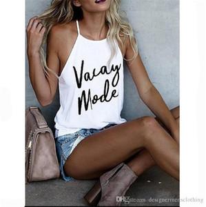 Camisas para mujer de diseño Carta Vacay modo de impresión verano de las señoras Top Bellas Condole del color del caramelo flojo verano de las mujeres camisetas