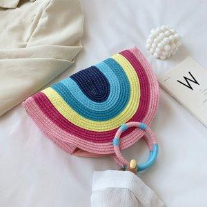 Femmes Rainbow Beach Sac à main classique texture délicate design chic paille tressée Bonneterie rotin filles Sac Vintage Totes