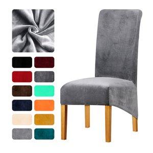 Leorate 12 Cores sólidas macio Plush Cadeira Coberta estiramento alta longas Voltar Slipcovers para o Natal jantar do hotel Decoração para escritório
