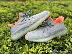 Hottest Sply V2 Sapatos Deserto Sábio Autêntico Originals Verde Primeknit Orange FX9035 Kanye West Men Sapatilhas ao ar livre com caixa