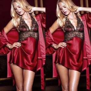 2pc traje del vestido atractivo de las mujeres 2019NEW La ropa interior atractiva del cordón de seda del camisón de la muñeca Albornoz camisón de la ropa de noche