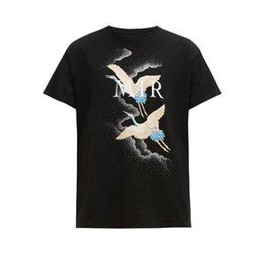 De lujo del diseñador del Mens T Shirts camiseta del verano Diseñador de impresión de grúa camiseta de Hip Hop Moda Hombres Mujeres camisetas de manga corta del tamaño S-XXL