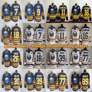 dos homens Buffalo Sabres jérseis Vintage 9 ROY 89 Mogilny 39 Hašek 11 Perreault 16 LAFONTAINE 18 GARE 7 MARTIN CCM Hockey Jersey