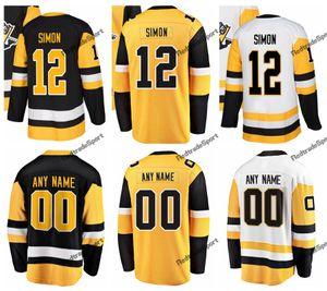2019 Nova Suplente Amarelo Pittsburgh Dominik Simon Hóquei Jerseys Mens Nome Personalizado Casa # 12 Dominik Simon Costurado Camisas de Hóquei S-XXXL