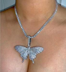neue Tier Schmetterling Halskette Charm 4mmTennis Kette Cuban Kette Gold Silber KubikZircon Männer Hip Hop Rock Schmuck