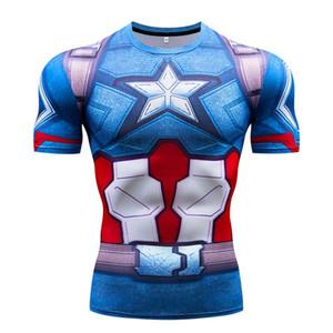 Süper kahraman Kaptan Amerika erkek sıkıştırma gömlek spor salonu koşuyoruz yaz 3D baskılı kısa kollu boy ince t gömlek erkekler kuru fit