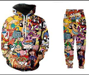Commercio all'ingrosso - nuovo modo degli uomini / donne del fumetto Totalmente 90 Felpa jogging divertente 3D Stampa unisex con cappuccio + pantaloni ZZ016