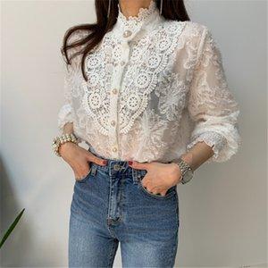 Estrangeiro Kitty Crochet Lace Blusas Mulheres coreano senhoras cor sólida gola manga comprida Blusa Vintage Blusa Primavera shirt Tops