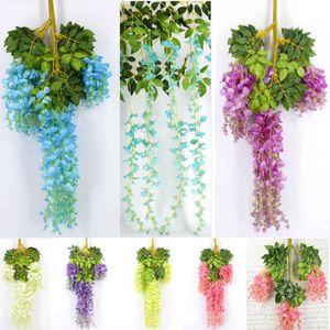 Şerit Wisteria Simülasyon Uzun İpek Bitki Garden Party Doğum Çiçekleri Çelenkler XD21511 İçin 110cm Yapay Çiçekler Düğün Süsleme