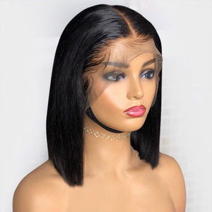 13x6 Parrucca anteriore del merletto della parte profonda con capelli del bambino Presoched Virgin Brasiliano Breve Brecia conciata dei capelli umani Bob Parrucche per le donne nere