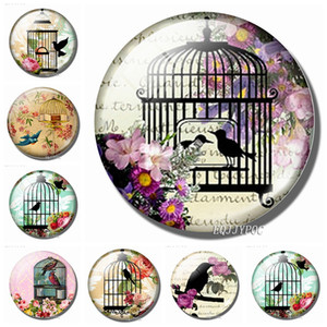 Pássaro Na Gaiola Frigorífico Ímãs 30 MM Bonito De Vidro Geladeira Magnética Adesivos Decorativos Francês Romântico Vila Home Decor