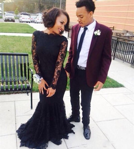 2020 Modest Long Sleeve Black Mermaid Evening Dresses Full Lace Appliqued Jewel Neck Prom Gowns Sweep Train New Formal Dress