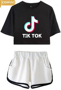 CINPOO dames / filles Tik Tok T-Shirt imprimé Musique Video App Logo Crop Top avec Shorts Hip Hop Streetwear Pyjama Sets11