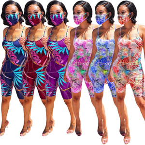 Fashion Women's Home Wear Digital Printing Jumpsuits 2020 Summer Hottest Spaghetti Strap Square Collar Sleeveless Rompers (2ps)