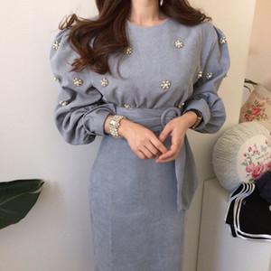 Chic Весна новых женщин вскользь ретро Вельвет пояса платье Женский Урожай Элегантный партии Узелок платья