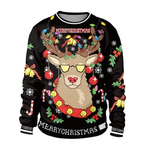 2019 Christmas Gift Christmas Decoration Cosplay Reindeer Digital Print Headband Comfortable Round Neck Sweater
