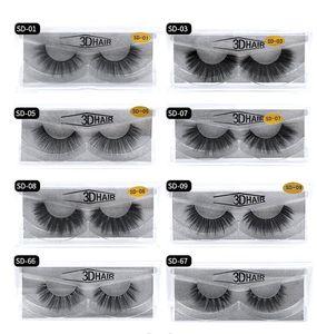Multistyles 3d Nerz-Haar-gefälschte Wimper 100% Thick echte Nerz HAIR falsche Wimpern natürliche Verlängerung falsche Wimpern freies Verschiffen