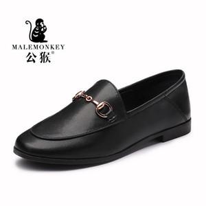 MALEMONKEY Designers 2020 nuevas mujeres forman los zapatos de zapatos de los planos de los holgazanes señoras de mocasines de cuero genuino