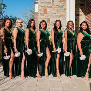 2020 élégant populaire velours vert longue de demoiselle d'honneur robes avec col en V côté Slit Sash Pays Longueur étage Simple plage robes de soirée de mariage