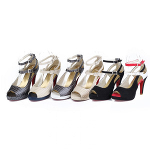 Zapatos Remates- calientes zapatos de fiesta Moda Mujer Mujer atractiva inferiores rojos de tacón alto verano bombea los zapatos la correa del tobillo de las sandalias de las mujeres grandes del tamaño 32-43