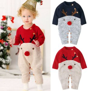 Weihnachten Baby-Kind-Säuglingsspielanzug Mädchen Jungen Pullover Karikatur-Druck-Langarm-Overall-Jungen-Mädchen-Rotwild-Strick