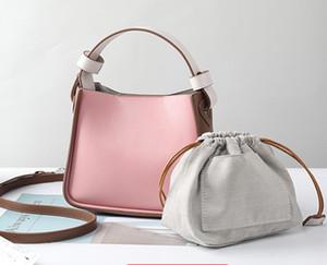2020 Women Fashion Tricolor Genuine Cow Leather Fashion Handbag Bucket Bag Crossbody Shoulder Purse For Women