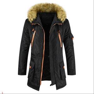 Giacca Mens Long Jacket Windbreaker cotone insize donne degli uomini di modo di stile UE pelliccia caldo inverno cappotti Zipper Parka con cappuccio Giacche Plus Size