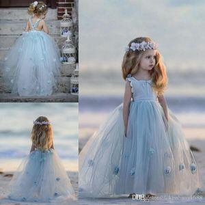 Adorable Light Sky Blue Flower Girls Vestidos Princesa Flores hechas a mano para la fiesta Bodas Dress Kids Baby Toddler Vestidos de tul