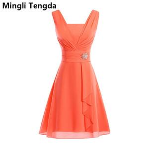 Mingli Tengda 2018 Sexy V Neck Evening Dresses Elegant Chiffon Burgundy Sleeveless Short Formal Party Dress Floor-Length Prom Evening Gowns
