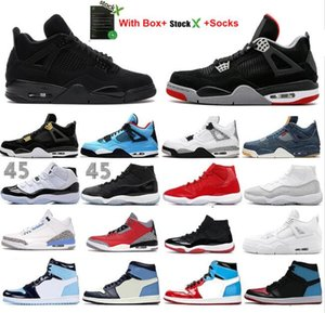 2020 UNC 4 4S Black Cat scarpe da basket 3 Red Cemento Bred 11 11s Concord Uomini Sneakers White Cement Cool Grey