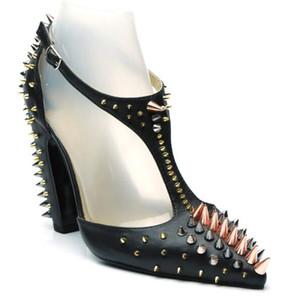 2019 Chic Rivet Gladiator Sandalen Frau Spitz T-Strap High Heel Schuhe Frau Sexy Party Schuhe