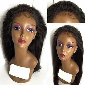 Natural Black Long Silky Straight Hair for Black Women Heat Resistant Synthetic Lace Front Wigs With Baby Hair Can Do Ponytail