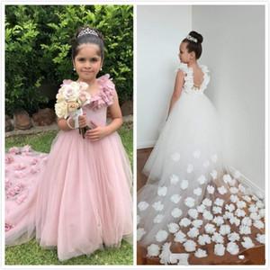 2020 Cheap Princesse Rose Blanche filles Pageant Robes manches Fait à la main Fleurs Tulle balayage train enfants fleurs filles robe d'anniversaire Robes