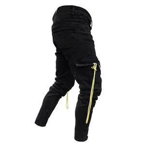 Moda-Nueva 19SS para hombre Negro rasgado Diseñador Jeans Bolsillos amarillo lápiz de los pantalones pantalones largos