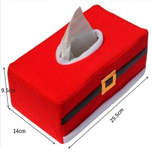 Red Christmas Tissue Box Cover Set Restaurant Bar Pumping Wipes Box Fabric Tissue Case Wipes Container Cover Lid Christmas Decor