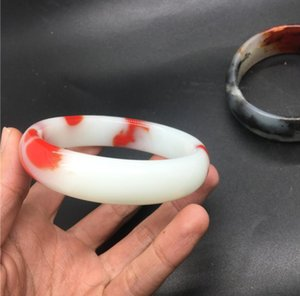 Xinjiang Hetian jade chicken blood red bracelet outer Mongolian material floating red bracelet chicken blood jade bracelet