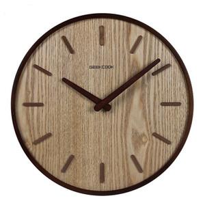 14 polegadas Japonês Casa Relógio de Parede Silencioso Sala de estar Quarto Simples Decoração Moderna Relógio Pendurado Relógio De Quartzo De Madeira Circular