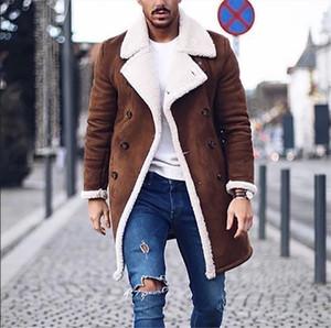 Inverno Mens Designer Jacket Moda Grosso Quente Velo Casacos De Couro Falso Brand New Double Breasted Mens Casaco