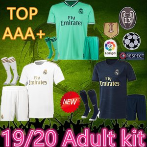 top 2019 2020 Real Madrid Kit Chaussettes Madrid Soccer Jersey 19 20 Hazard Soccer Shirt Modric Asensio Vinicius JR Isco Kroos Football Uniforme