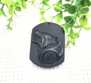 Doğal Obsidian Kurt Totem kolye Great Wolf Başkanı Kristal Obsidian kolye Buzlu Kurt Marka kolye